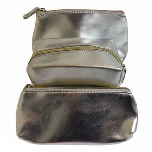 Macy's Silver Make up Cosmetic Bags Set of 3